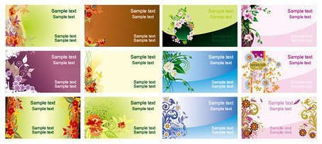 12 beautifully designed card template vector material flower