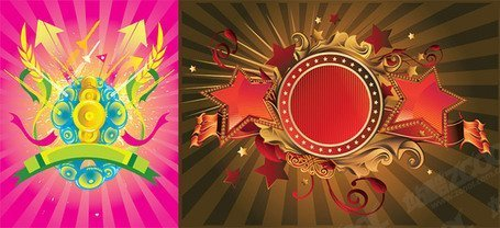 2 cool trend of material elements of vector illustrations
