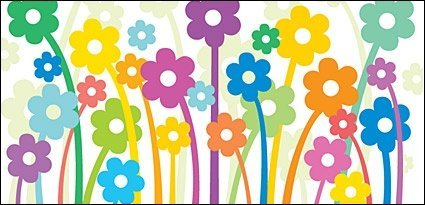 Lovely flowers vector illustration material