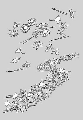 Japanese line drawing of plant flowers vector material -14 (