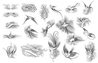 Birds, birds, flowers, black and white, and material