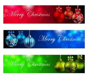 Vector Set of Horizontal Christmas New Year Banners