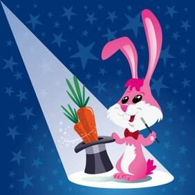 Magic cartoon rabbit