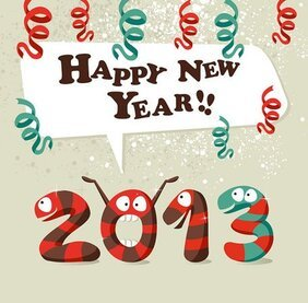 2013 Year of the Snake greeting card background image 05