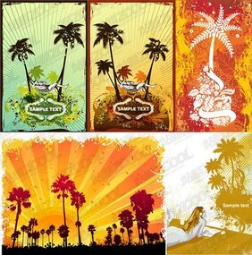 5 coconut trees subject illustrator