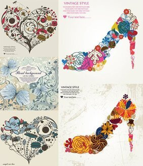 Pattern Consisting Of High Heels And Hearts Vector Material Patterns Flowers Heart-shaped