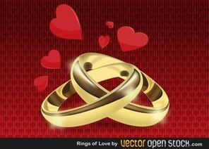 Wedding Gold Rings Vector Free
