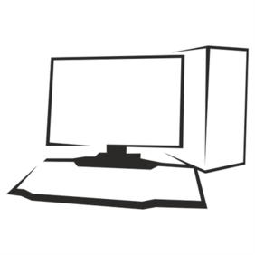 Outlined Black & White Desktop PC
