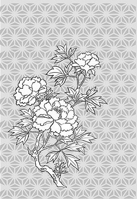 Japanese line drawing of plant flowers vector material -11 (