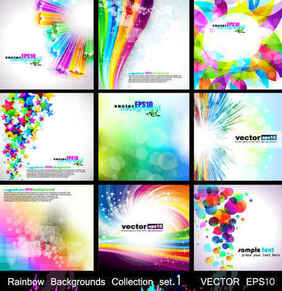 Rainbow Backgrounds Collection Set