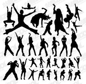 Dozens of complex dance moves silhouette