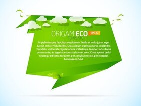 Green Origami Animals 03