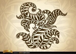 Ornamental swirls and leaves drawing