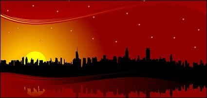 Red skyline city
