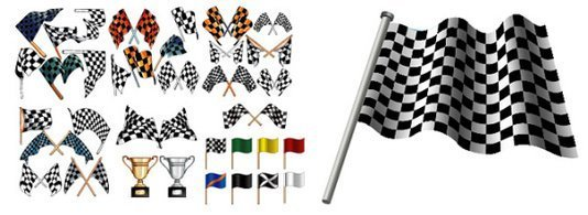 F1 Racing banner and trophy element