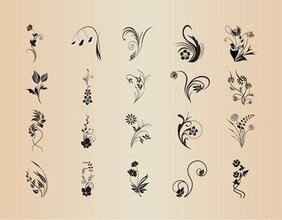 Vector Set of Abstract Patterns of Floral