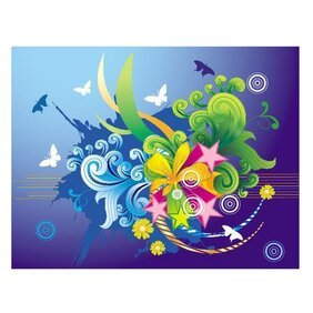 FLORAL BLUE ABSTRACT VECTOR.eps