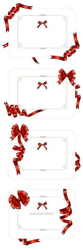 4 wrapped ribbons, blank cards