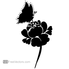 Rose Silhouette with Butterfly