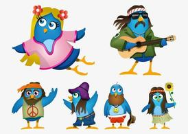 Hippie Cartoon uccelli