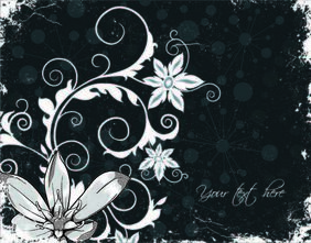 Floral Grungy Background with Swirling Floral Steams