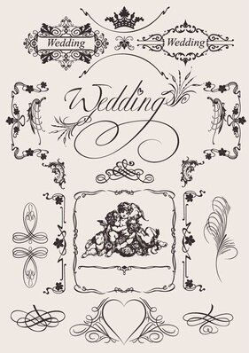 Vector Vintage Wedding Pattern Elements