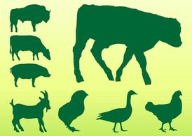 Silhouettes d'animaux ferme