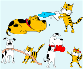 Cute Cartoon Dog and Cat Free