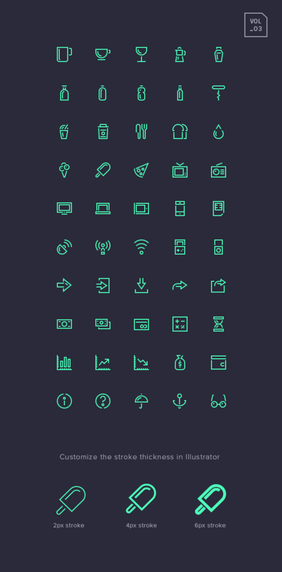 Lijn Gap Icons Set Vol.3