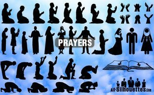 Vector prayers silhouettes