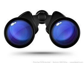 Black binoculars icon (PSD)