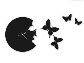 Butterfly wall clock (PSD)