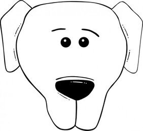 Dog Face Cartoon World Label