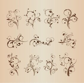 Swirling Flourishes Decorative Floral Elements Vector Set