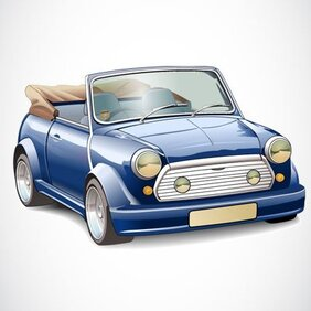 Vector illustration of old original convertible Rover Mini
