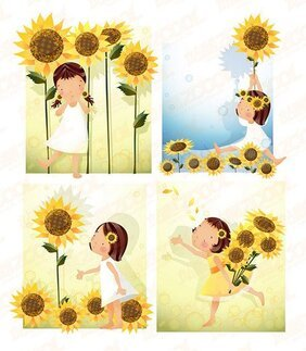 Sunflower Theme (South Korea iClickart Four Seasons cute gir