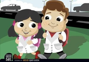 Cartoon boy and girl going to school