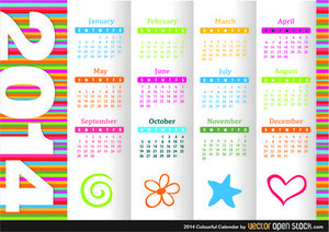 2014 Colourful Calendar