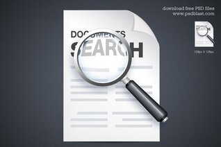 Documents Search Icon, Vector Shape PSD