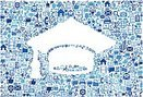 Graduation Cap on vector technology pattern Background
