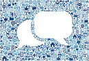Two Speech Bubbles on vector technology pattern Background