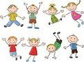 Many happy kid jumping and dancing together