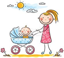 Baby,Mother,Baby Carriage,C...