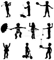 Child,Silhouette,Sport,Golf...