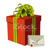 Red gift box with a Xmas greeting card