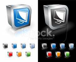 computer monitor 3D royalty free vector art