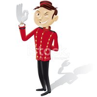 Funny bellboy doing OK sign - isolated full picture