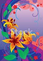 Art,Tiger Lily,Multi Colore...