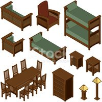 Isometric,Furniture,Bed,Tab...
