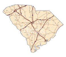 South Carolina,Map,Southern...